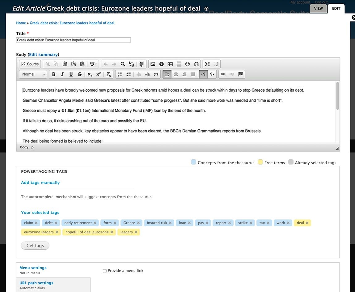 PoolParty PowerTagging Drupal interface image