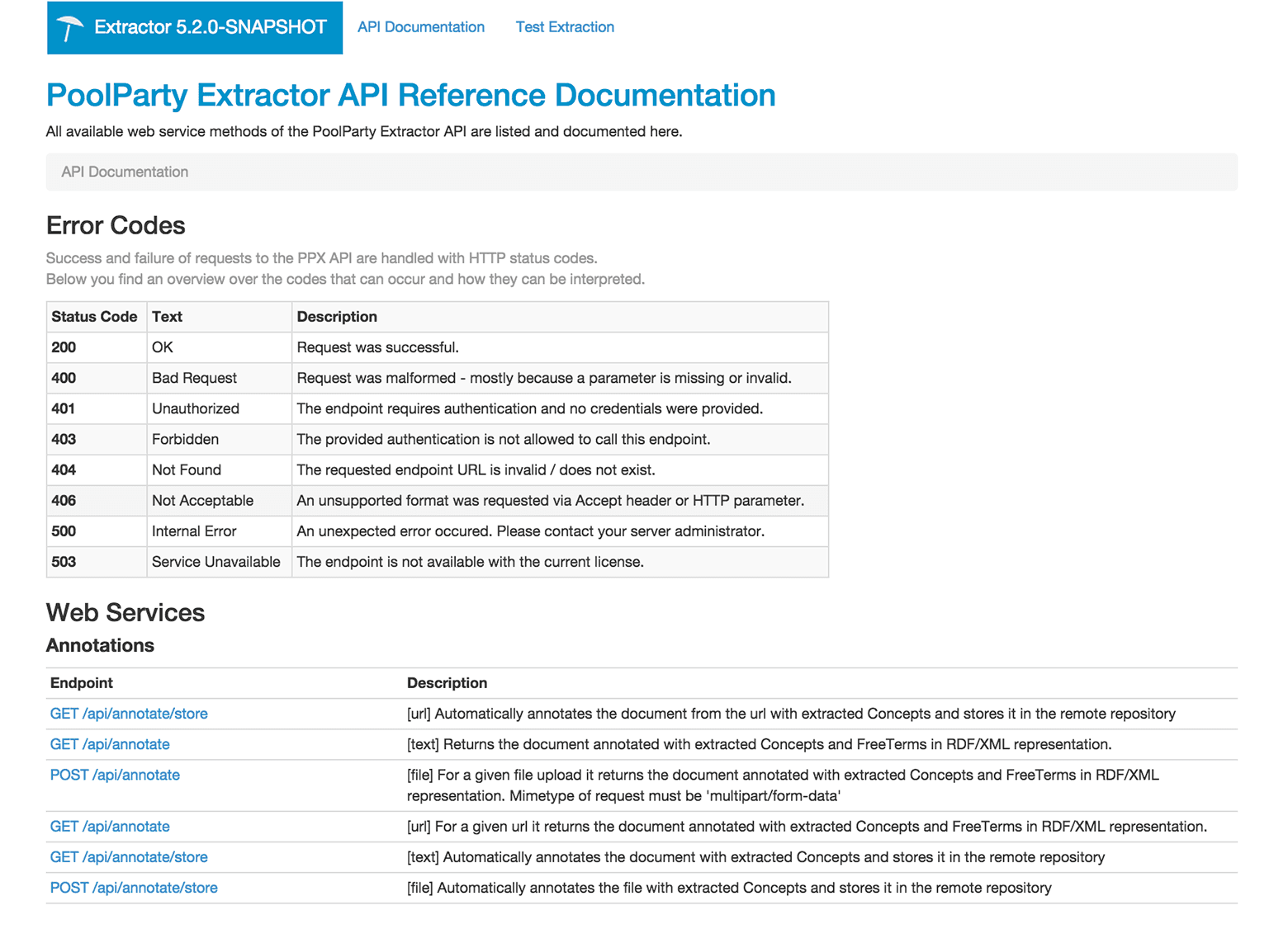PoolParty Extractor API Reference Documentation image