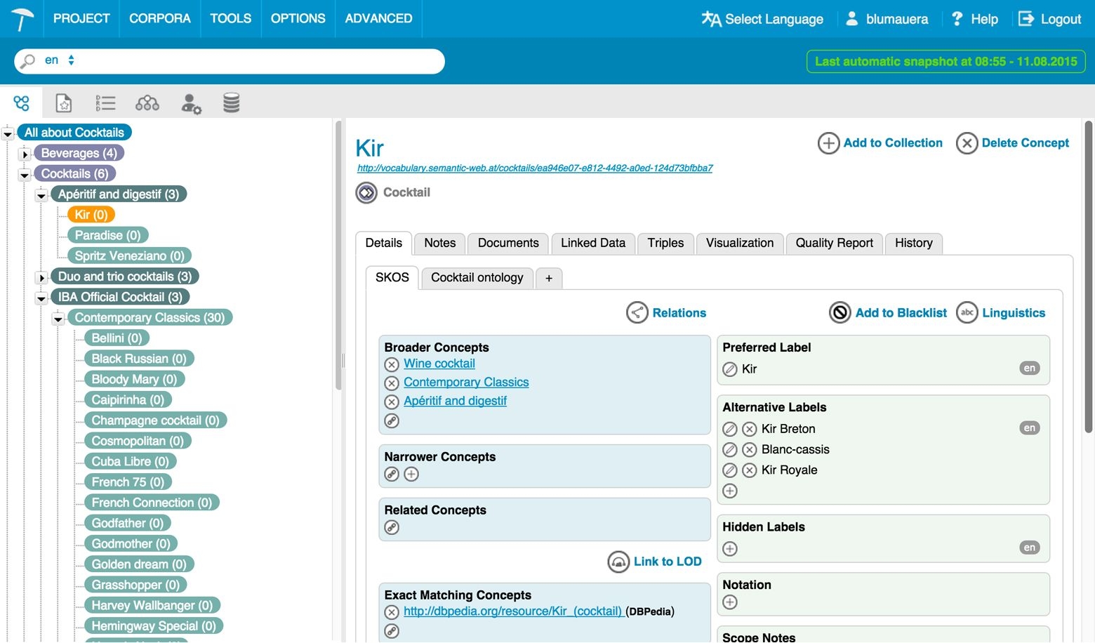 PoolParty Thesaurus manager interface image