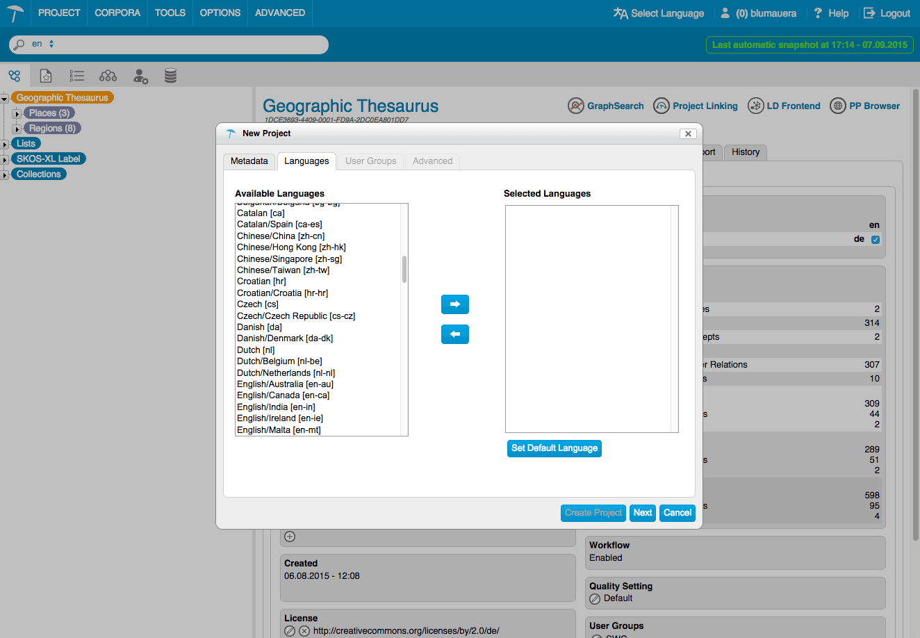 PoolParty project language settings image