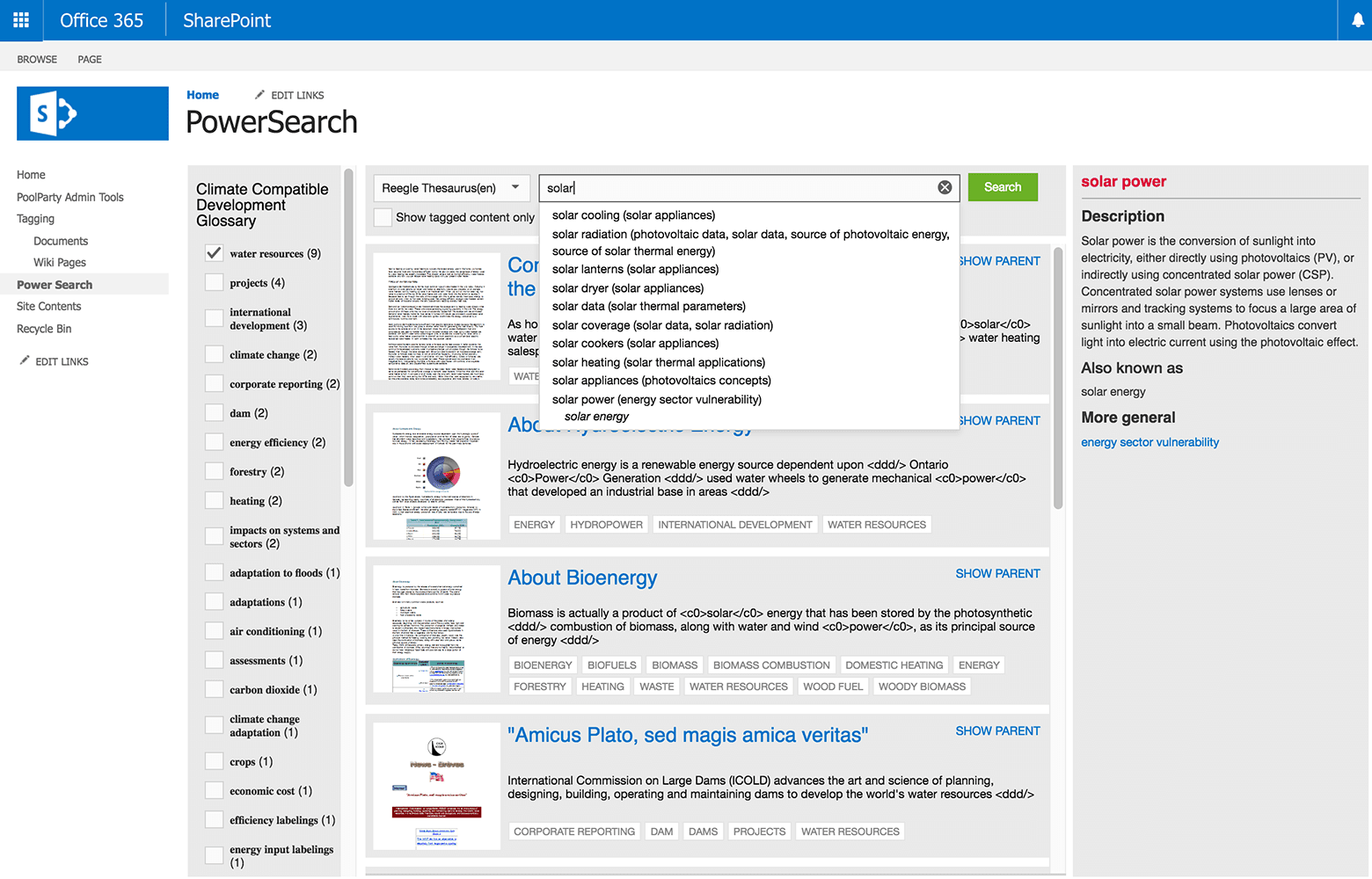 PoolParty Office 365 semantic search image